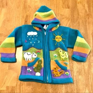 Llama Llamita Knit Colorful Child's Sweater Small?